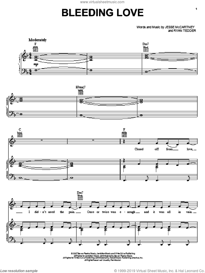 Bleeding Love sheet music for voice, piano or guitar by Leona Lewis, Jesse McCartney and Ryan Tedder, intermediate
