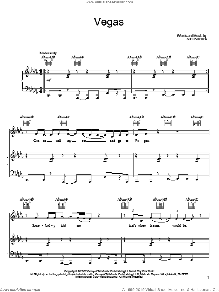 Vegas sheet music for voice, piano or guitar by Sara Bareilles, intermediate skill level