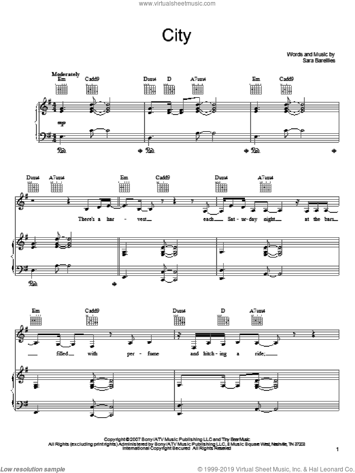 City sheet music for voice, piano or guitar by Sara Bareilles, intermediate skill level