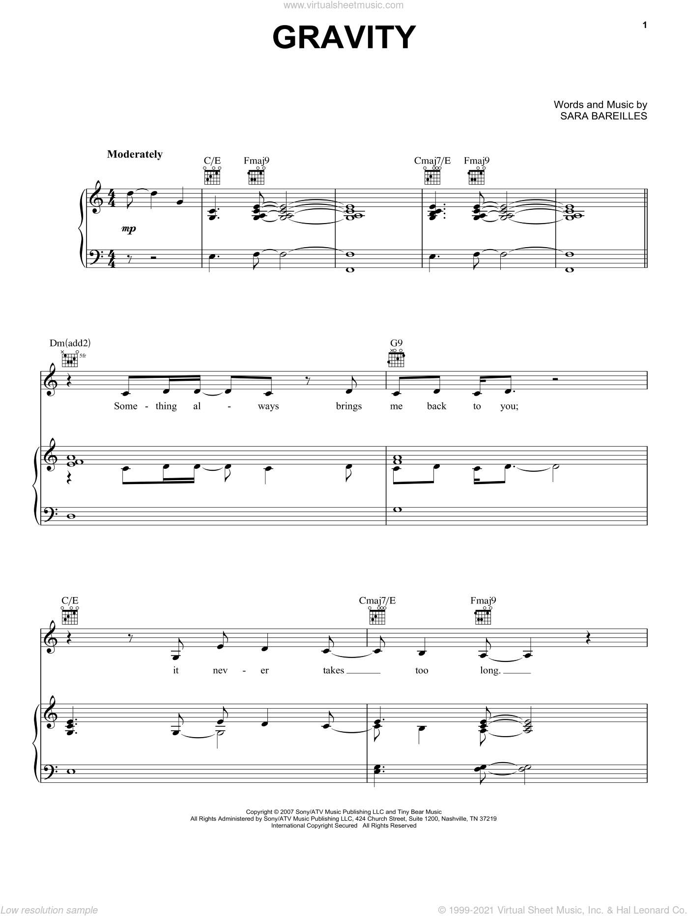 Gravity sheet music for voice, piano or guitar by Sara Bareilles