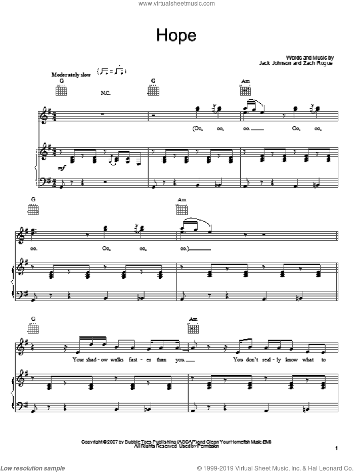 Hope sheet music for voice, piano or guitar by Zach Rogue and Jack Johnson. Score Image Preview.