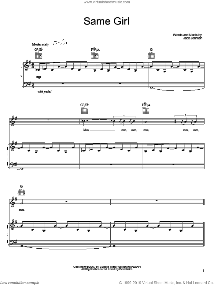 Same Girl sheet music for voice, piano or guitar by Jack Johnson, intermediate. Score Image Preview.