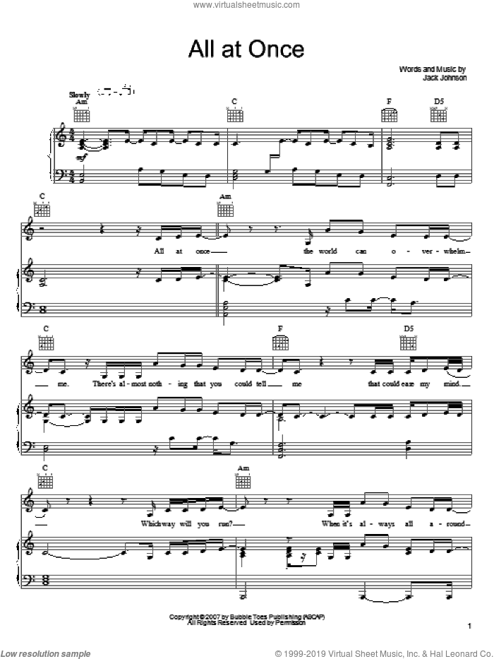All At Once sheet music for voice, piano or guitar by Jack Johnson, intermediate skill level
