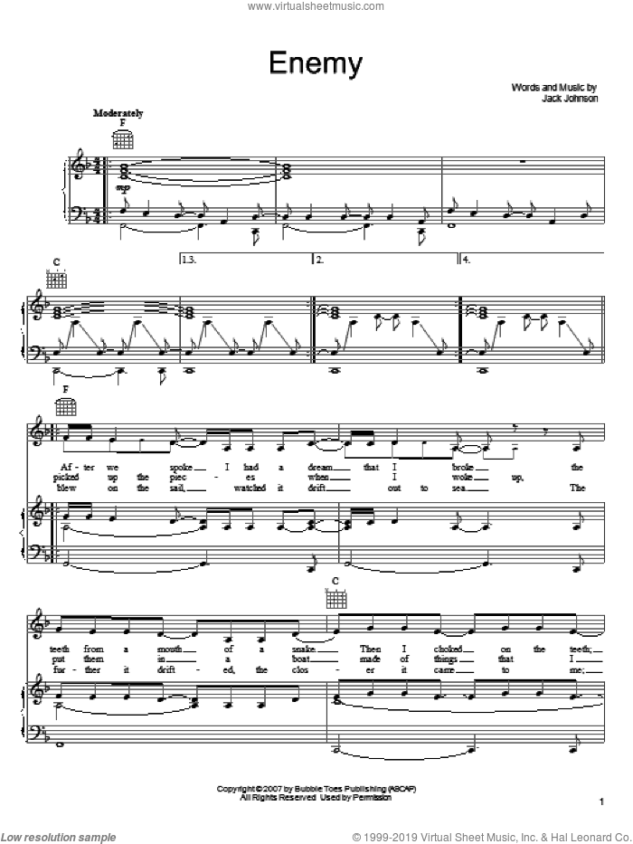Enemy sheet music for voice, piano or guitar by Jack Johnson, intermediate skill level