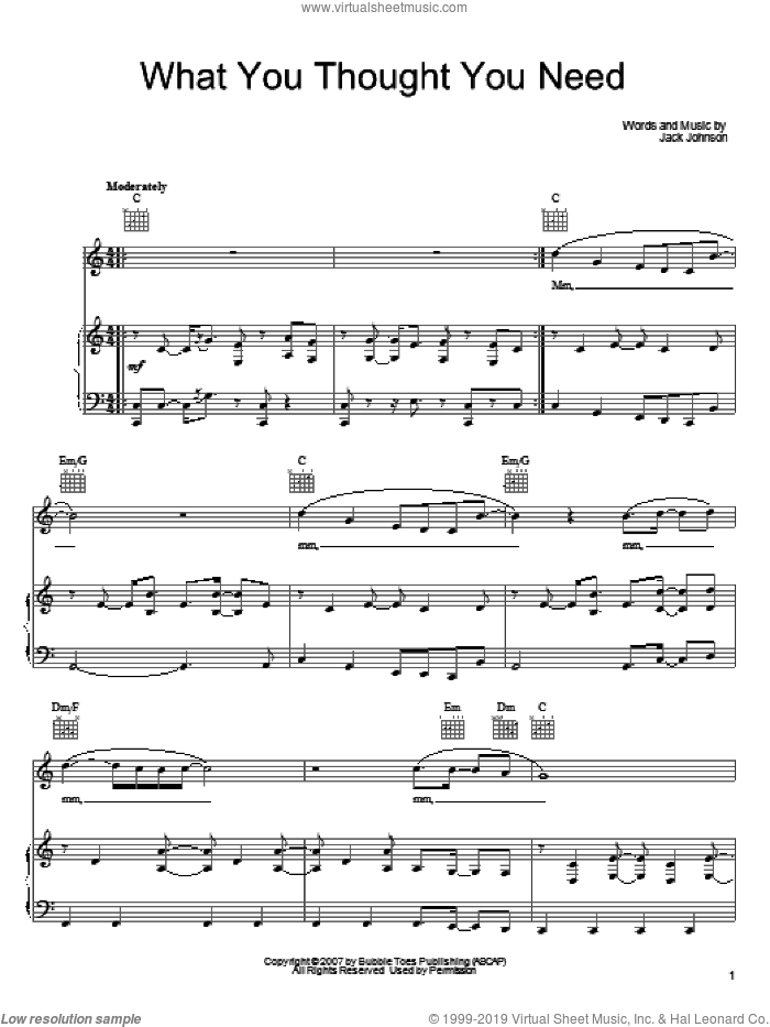 What You Thought You Need sheet music for voice, piano or guitar by Jack Johnson, intermediate. Score Image Preview.