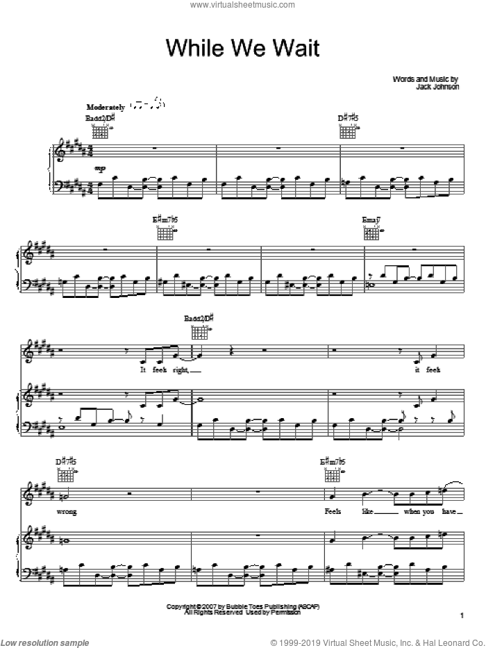 While We Wait sheet music for voice, piano or guitar by Jack Johnson. Score Image Preview.