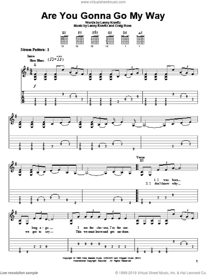 Are You Gonna Go My Way sheet music for guitar solo (easy tablature) by Lenny Kravitz and Craig Ross, easy guitar (easy tablature)