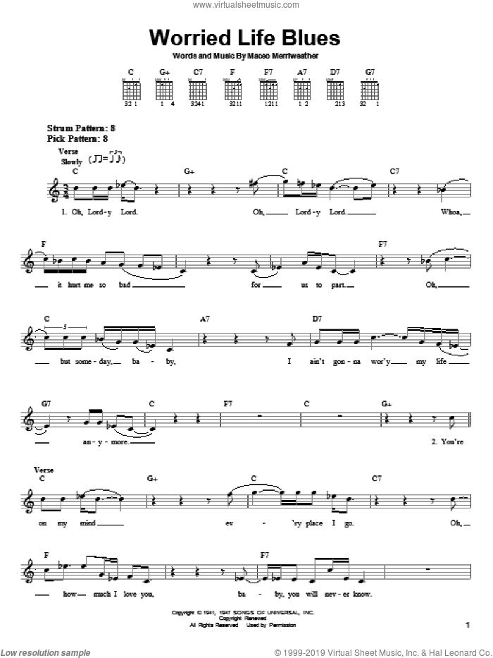 Worried Life Blues sheet music for guitar solo (chords) by Eric Clapton and Maceo Merriweather. Score Image Preview.