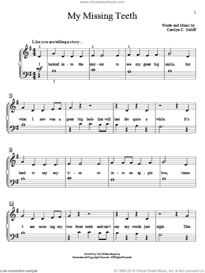 My Missing Teeth sheet music for piano solo (elementary) by Carolyn C. Setliff. Score Image Preview.