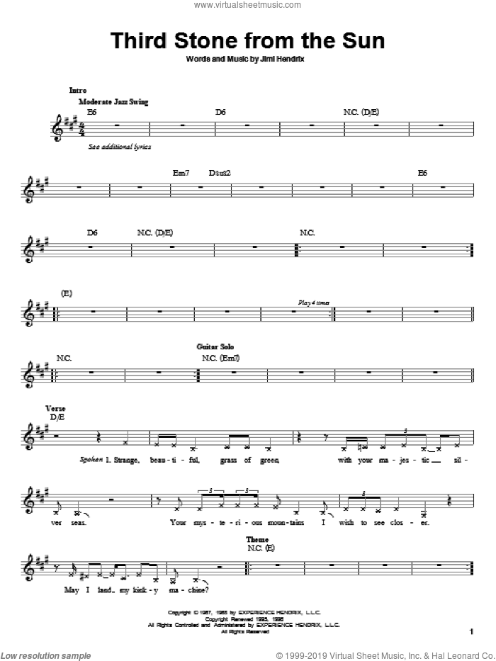 Third Stone From The Sun sheet music for guitar solo (chords) by Jimi Hendrix, easy guitar (chords)