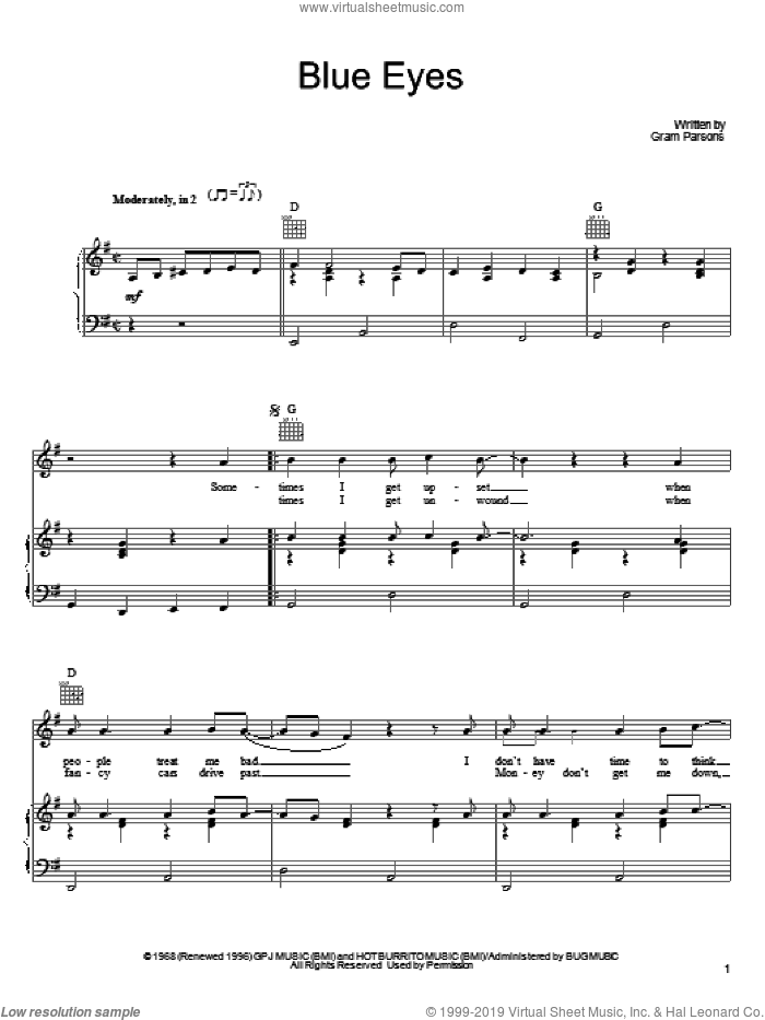 Blue Eyes sheet music for voice, piano or guitar by Gram Parsons, intermediate skill level