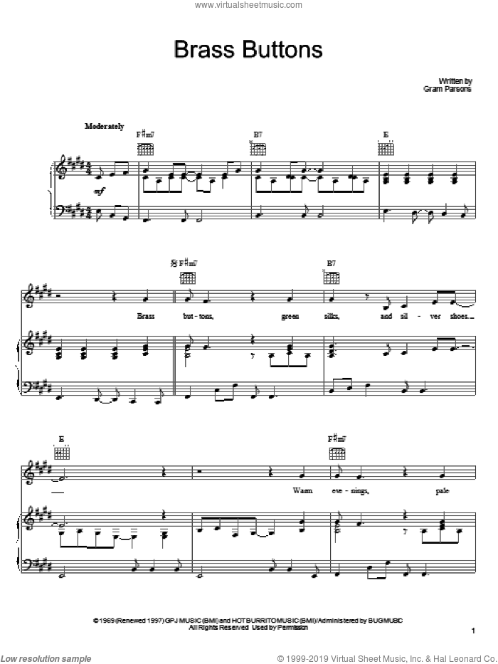 Brass Buttons sheet music for voice, piano or guitar by Gram Parsons, intermediate skill level