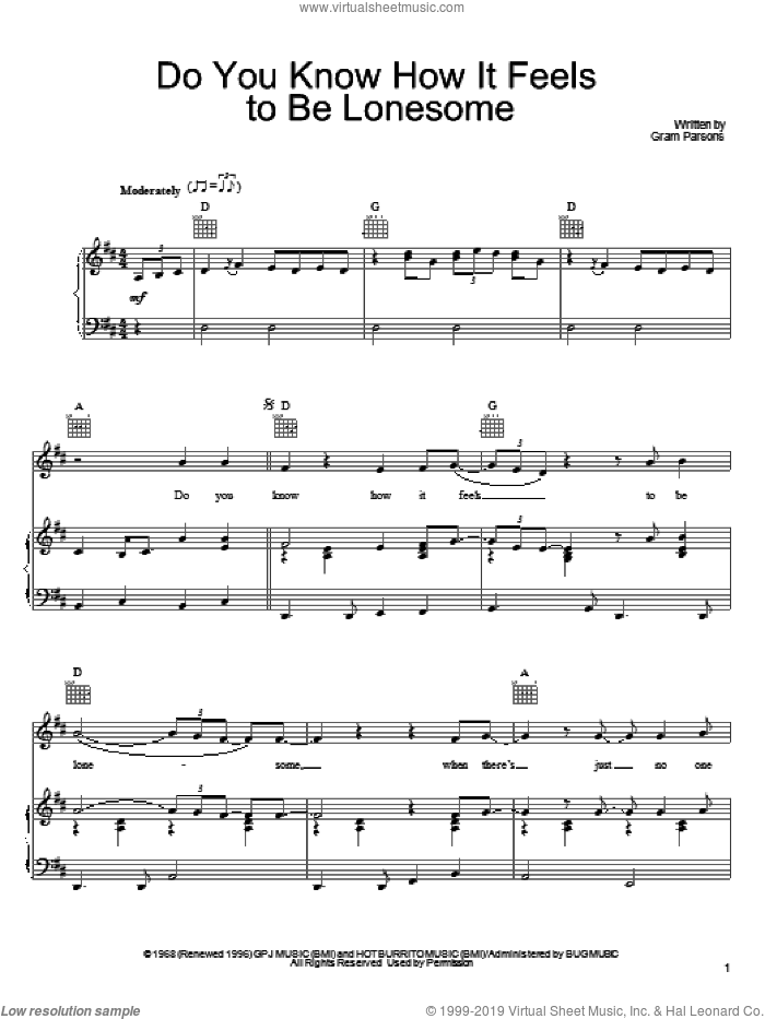 Do You Know How It Feels To Be Lonesome sheet music for voice, piano or guitar by Gram Parsons, intermediate skill level