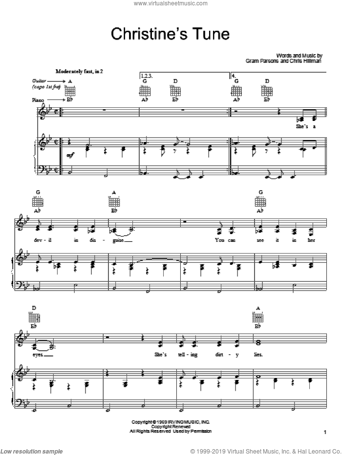 Christine's Tune sheet music for voice, piano or guitar by Gram Parsons, intermediate. Score Image Preview.