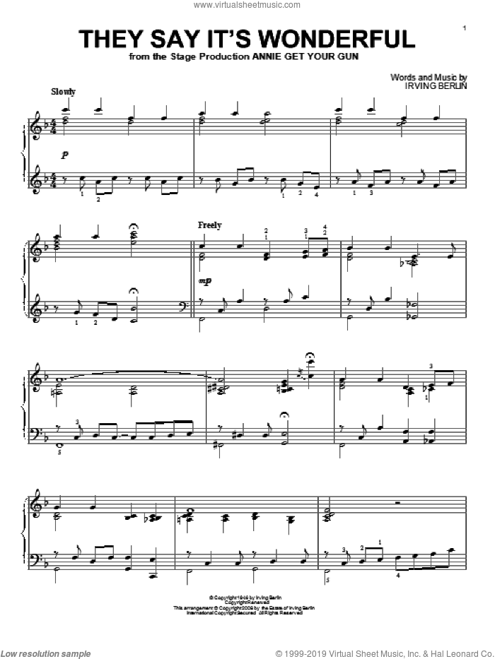 They Say It's Wonderful sheet music for piano solo by Irving Berlin and Annie Get Your Gun (Musical), intermediate skill level