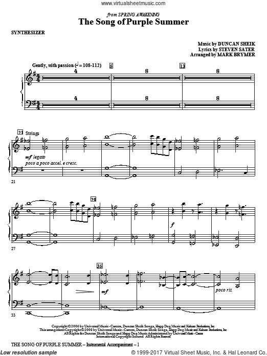 The Song Of Purple Summer (COMPLETE) sheet music for orchestra by Duncan Sheik