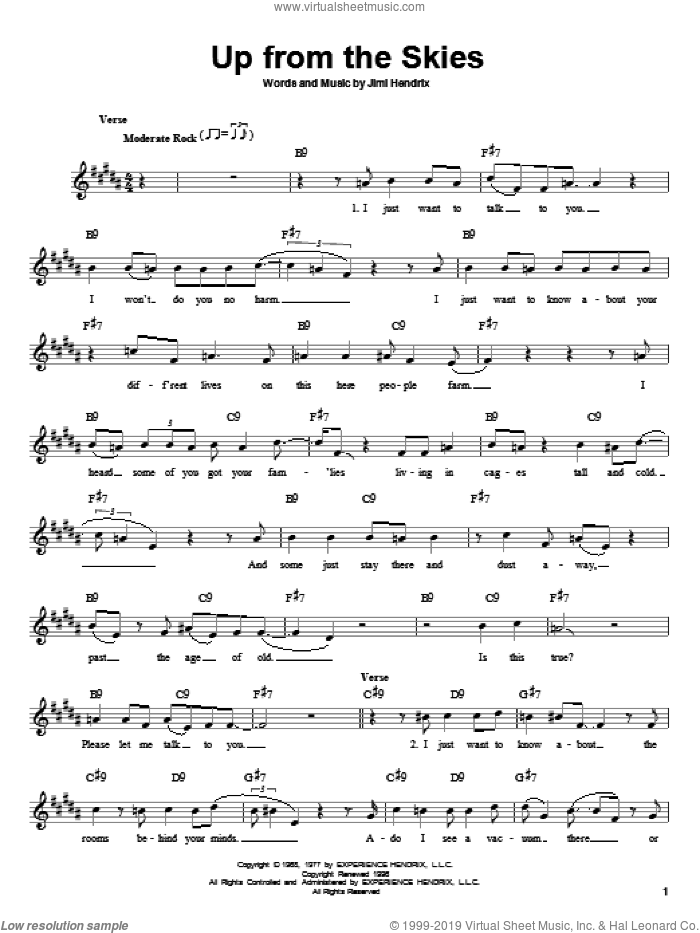 Up From The Skies sheet music for guitar solo (chords) by Jimi Hendrix. Score Image Preview.