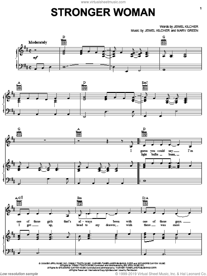 Stronger Woman sheet music for voice, piano or guitar by Jewel, Jewel Kilcher and Marv Green. Score Image Preview.