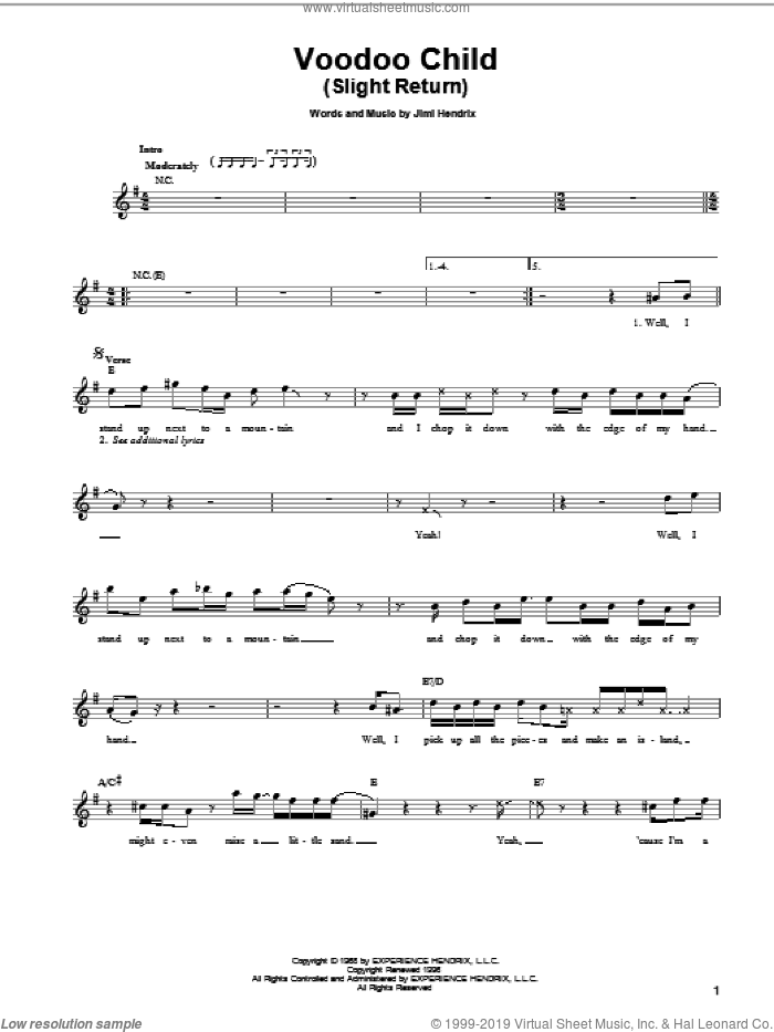 Voodoo Child (Slight Return) sheet music for guitar solo (chords) by Jimi Hendrix, Stevie Ray Vaughan and Yngwie Malmsteen, easy guitar (chords)