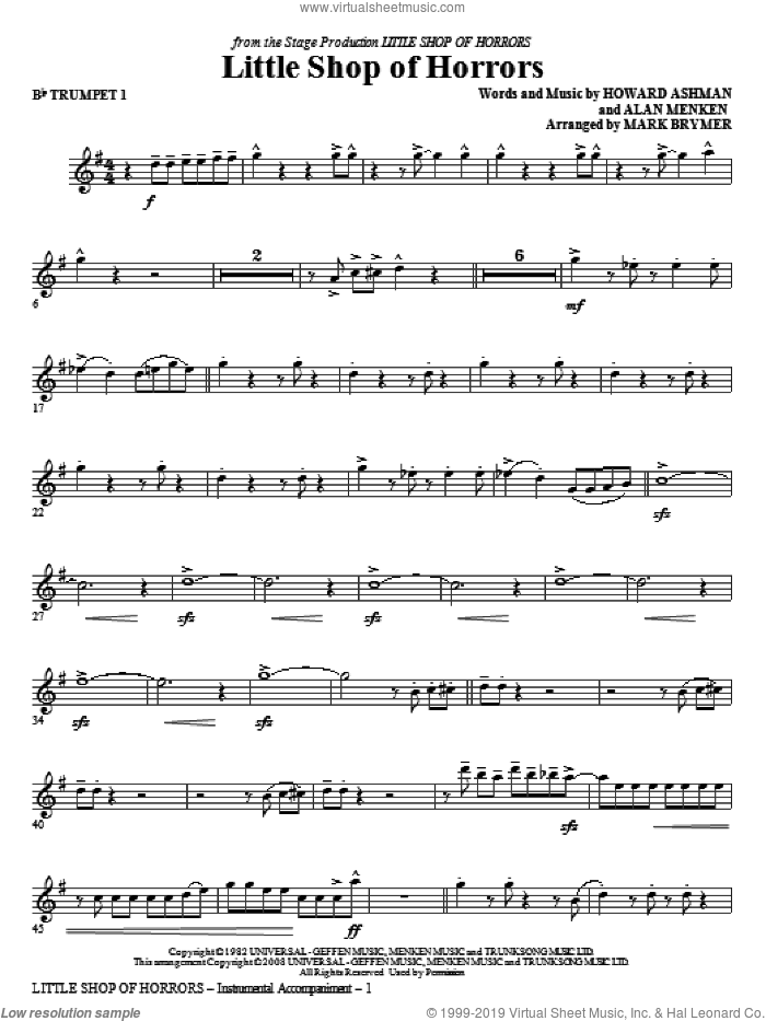 Little Shop Of Horrors (from Little Shop of Horrors) (arr. Mark Brymer) (complete set of parts) sheet music for orchestra/band by Alan Menken, Howard Ashman and Mark Brymer, intermediate skill level