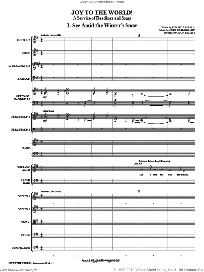 Joy To The World (COMPLETE) sheet music for orchestra/band (chamber ensemble) by John Leavitt and Miscellaneous, intermediate skill level