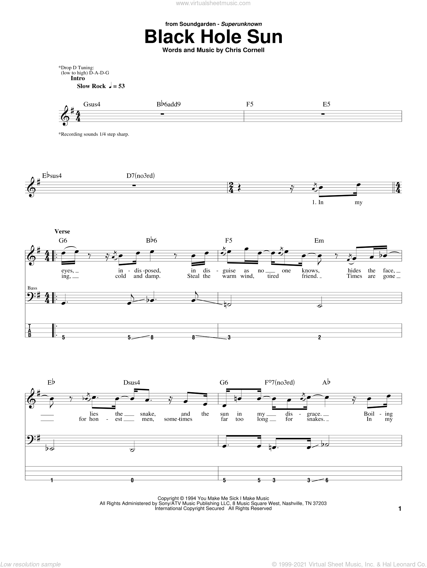Black Hole Sun sheet music for bass (tablature) (bass guitar) by Chris Cornell and Soundgarden. Score Image Preview.