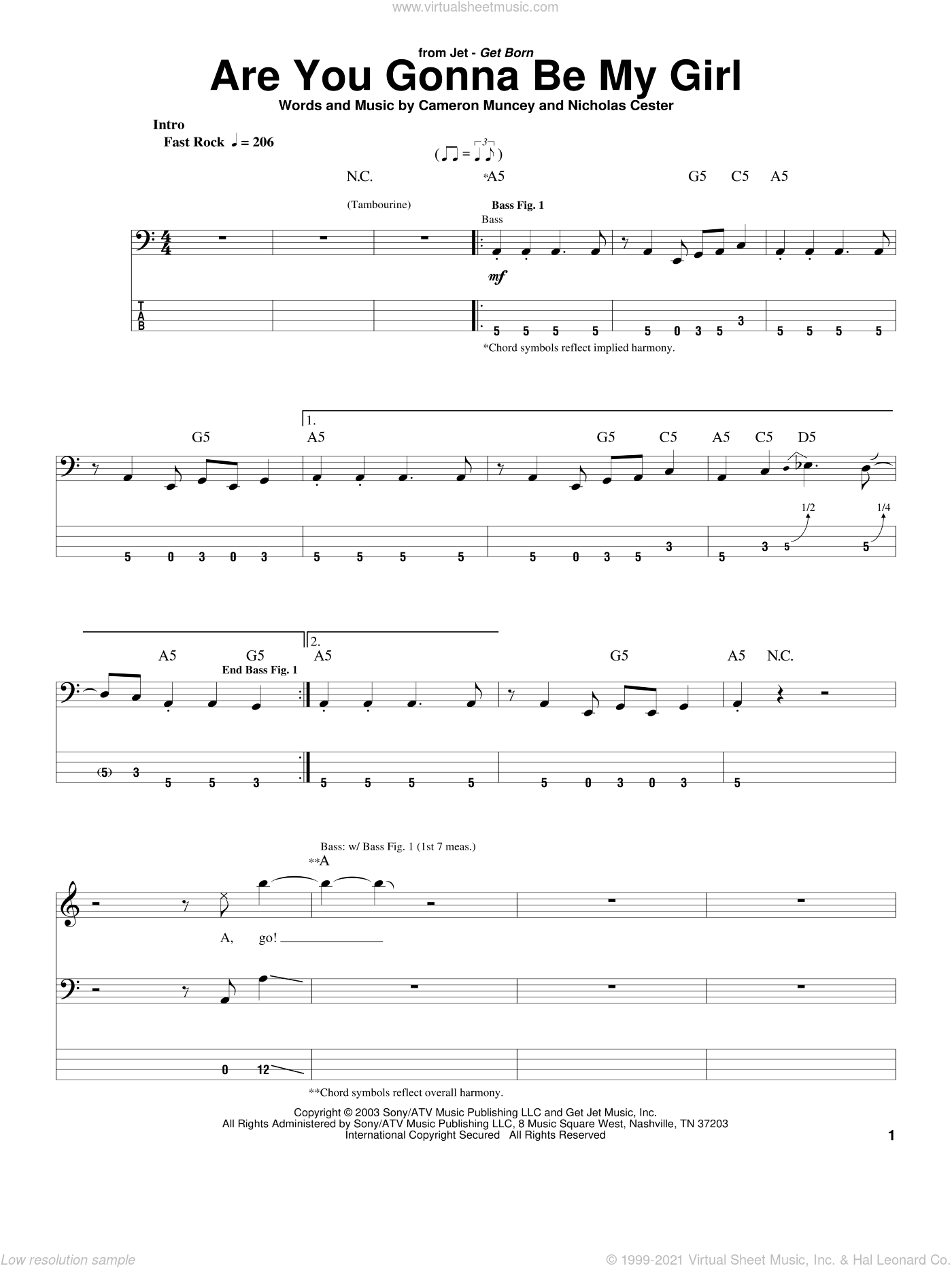 Are You Gonna Be My Girl sheet music for bass (tablature) (bass guitar) by Nic Cester and Cameron Muncey, intermediate skill level