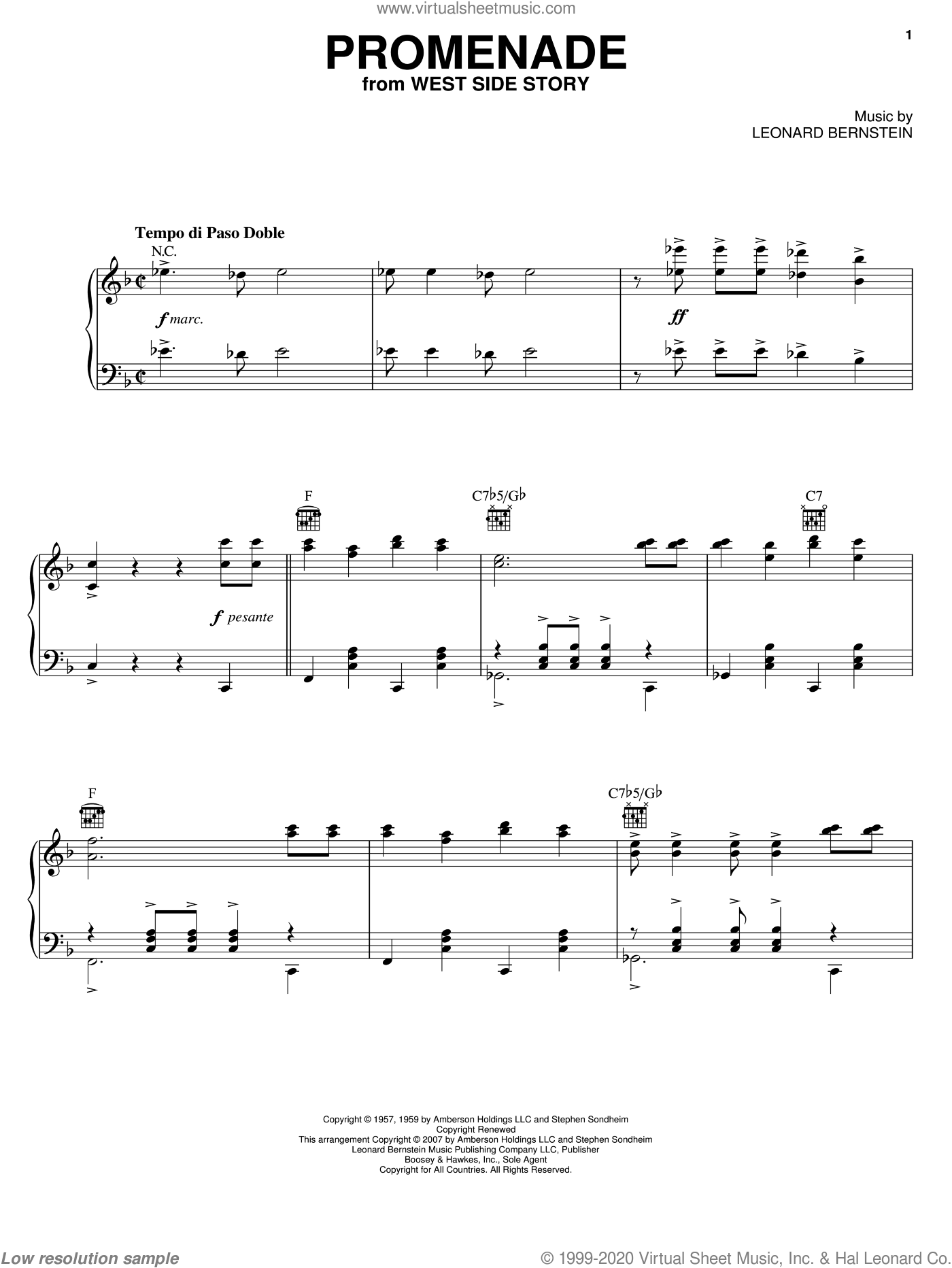 Promenade From The Dance At The Gym (from West Side Story) sheet music for piano solo by Leonard Bernstein, West Side Story (Musical) and Stephen Sondheim, intermediate skill level