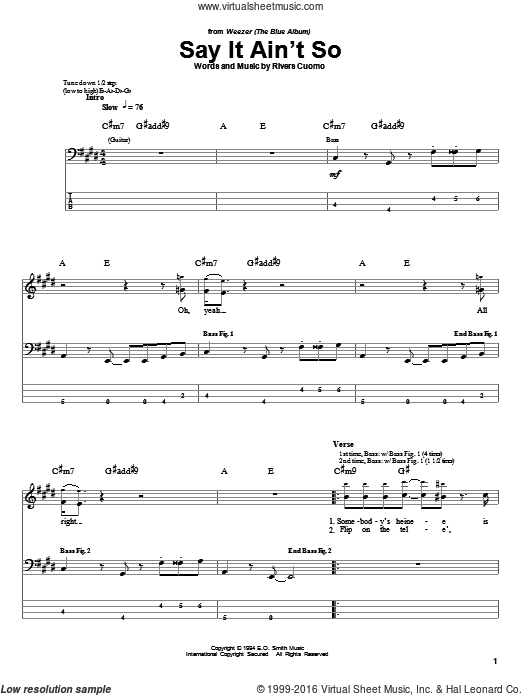 Say It Ain't So sheet music for bass (tablature) (bass guitar) by Rivers Cuomo and Weezer. Score Image Preview.