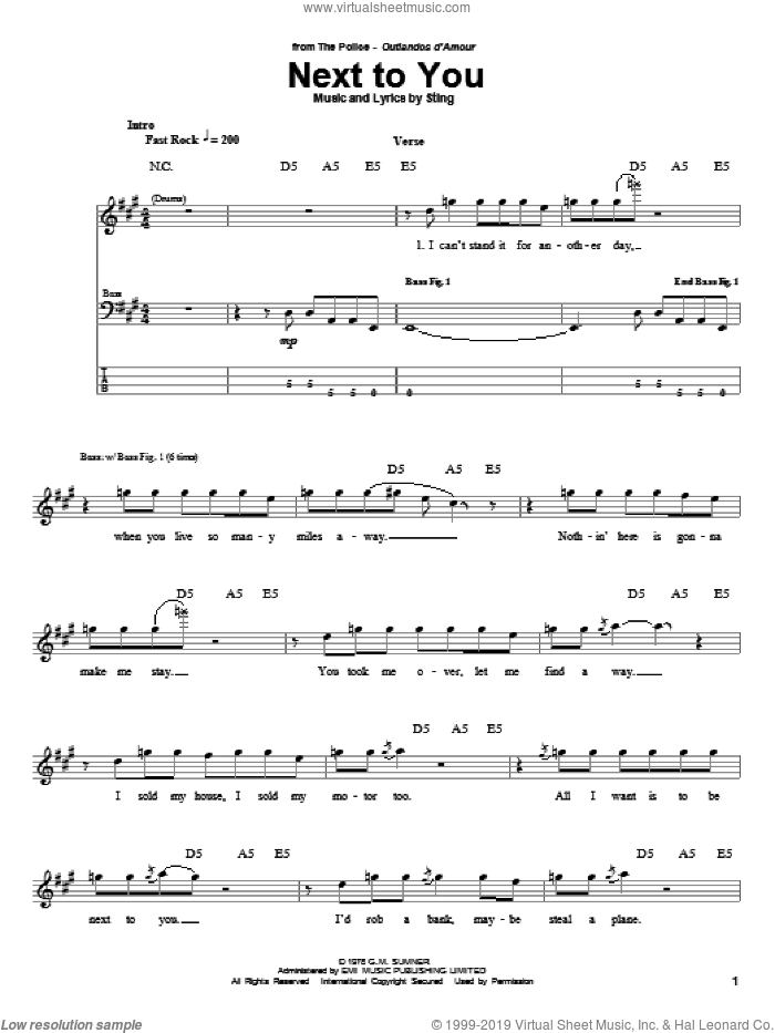 Next To You sheet music for bass (tablature) (bass guitar) by The Police and Sting. Score Image Preview.