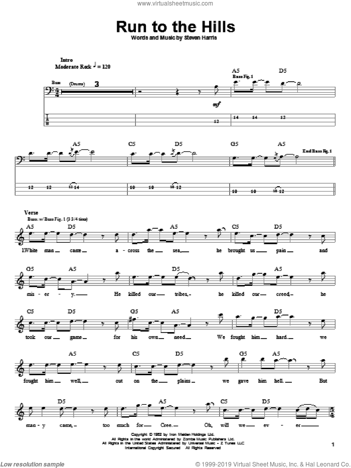 Run To The Hills sheet music for bass (tablature) (bass guitar) by Steve Harris