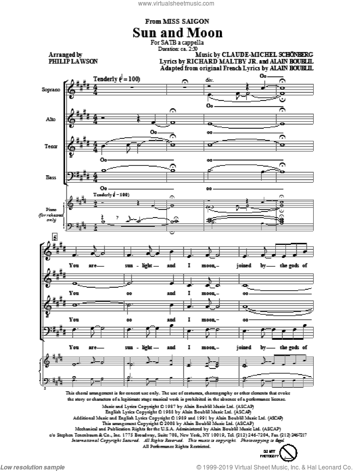 Sun And Moon sheet music for choir and piano (SATB) by Alain Boublil, Claude-Michel Schonberg, Philip Lawson and Richard Maltby, Jr.. Score Image Preview.