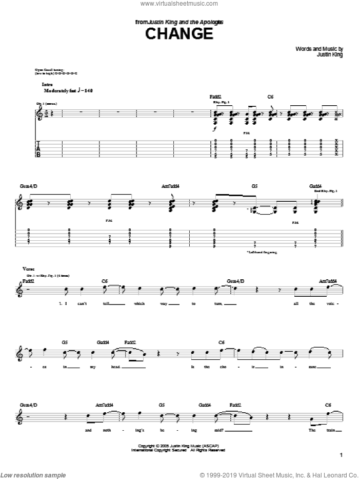 Change sheet music for guitar (tablature) by Justin King, intermediate. Score Image Preview.