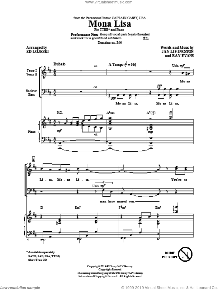Mona Lisa sheet music for choir (tenor voice, bass voice, choir) by Jay Livingston, Ed Lojeski, Ray Evans and Nat King Cole. Score Image Preview.