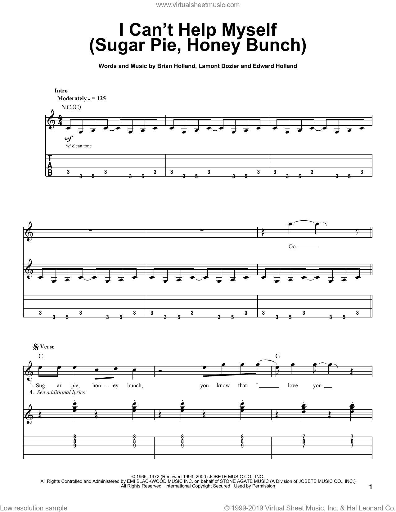 I Can't Help Myself (Sugar Pie, Honey Bunch) sheet music for guitar (tablature, play-along) by Lamont Dozier, The Four Tops, Brian Holland and Eddie Holland. Score Image Preview.