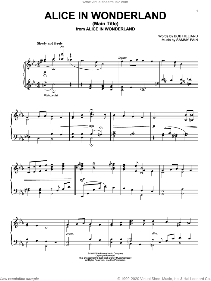 alice in wonderland pdf sheet music