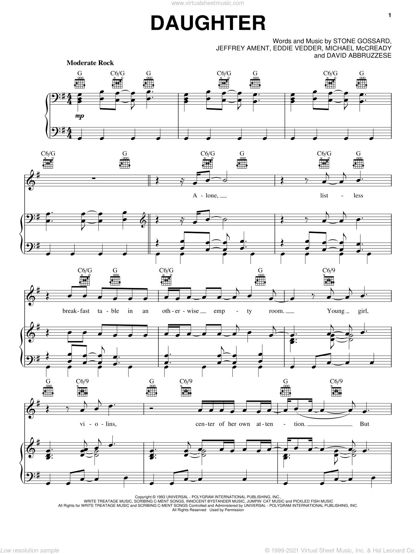 Daughter sheet music for voice, piano or guitar by Pearl Jam, David Abbruzzese, Eddie Vedder, Jeffrey Ament, Michael McCready and Stone Gossard, intermediate skill level