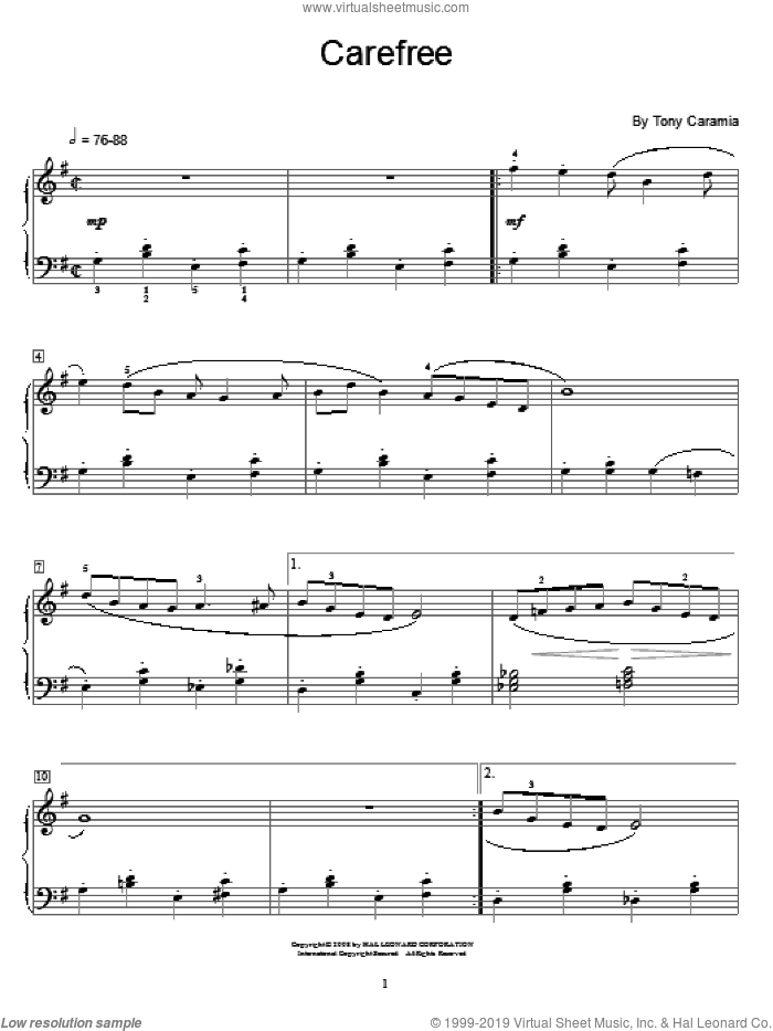 Carefree sheet music for piano solo (elementary) by Tony Caramia and Miscellaneous. Score Image Preview.