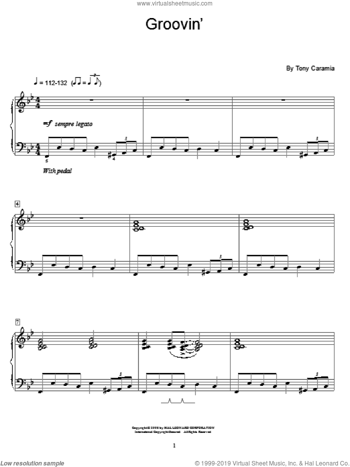 Groovin' sheet music for piano solo (elementary) by Tony Caramia and Miscellaneous. Score Image Preview.