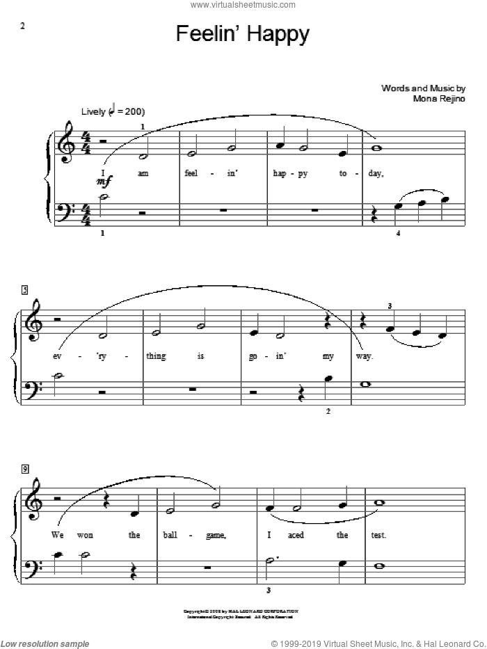 Feelin' Happy sheet music for piano solo (elementary) by Mona Rejino and Miscellaneous. Score Image Preview.