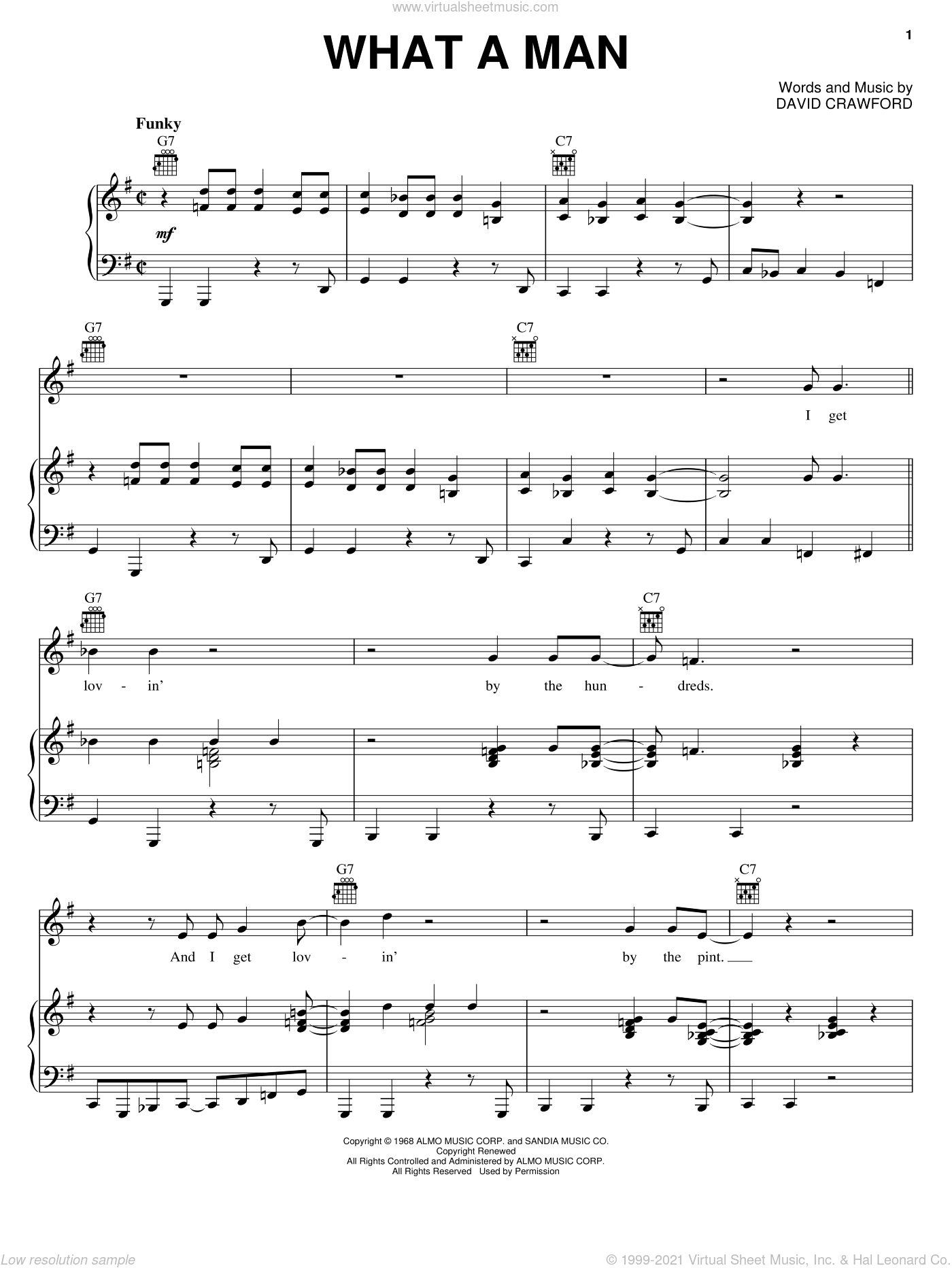 What A Man sheet music for voice, piano or guitar by David Crawford