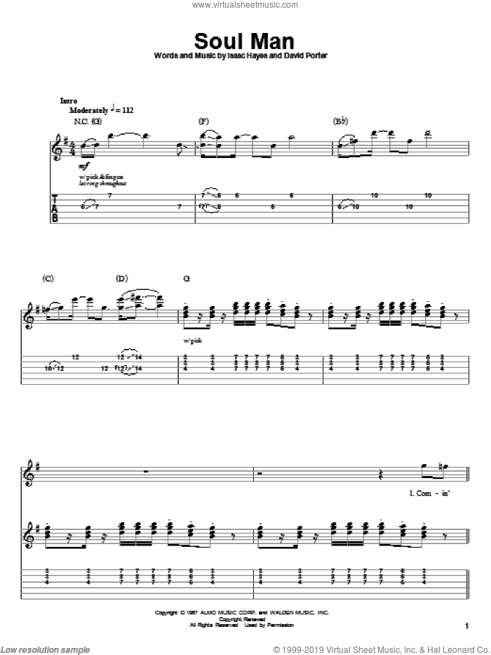 Soul Man sheet music for guitar (tablature, play-along) by David Porter and Isaac Hayes. Score Image Preview.