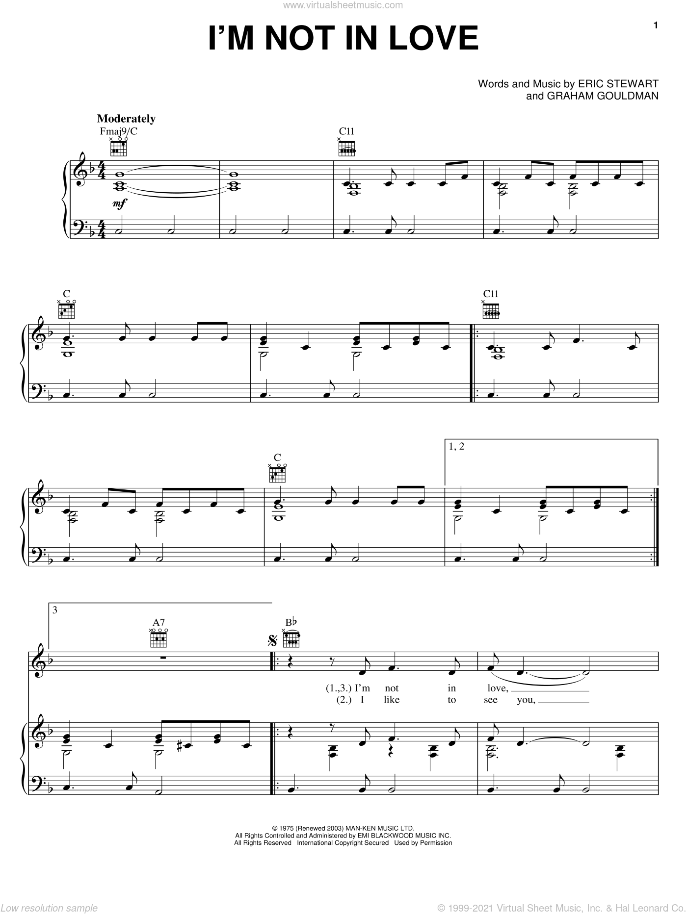 I'm Not In Love sheet music for voice, piano or guitar by Graham Gouldman