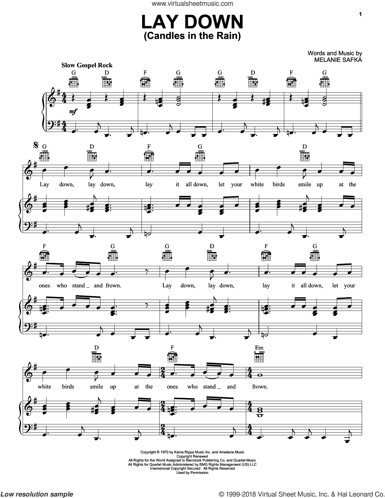 Lay Down (Candles In The Rain) sheet music for voice, piano or guitar by Melanie and Melanie Safka, intermediate skill level