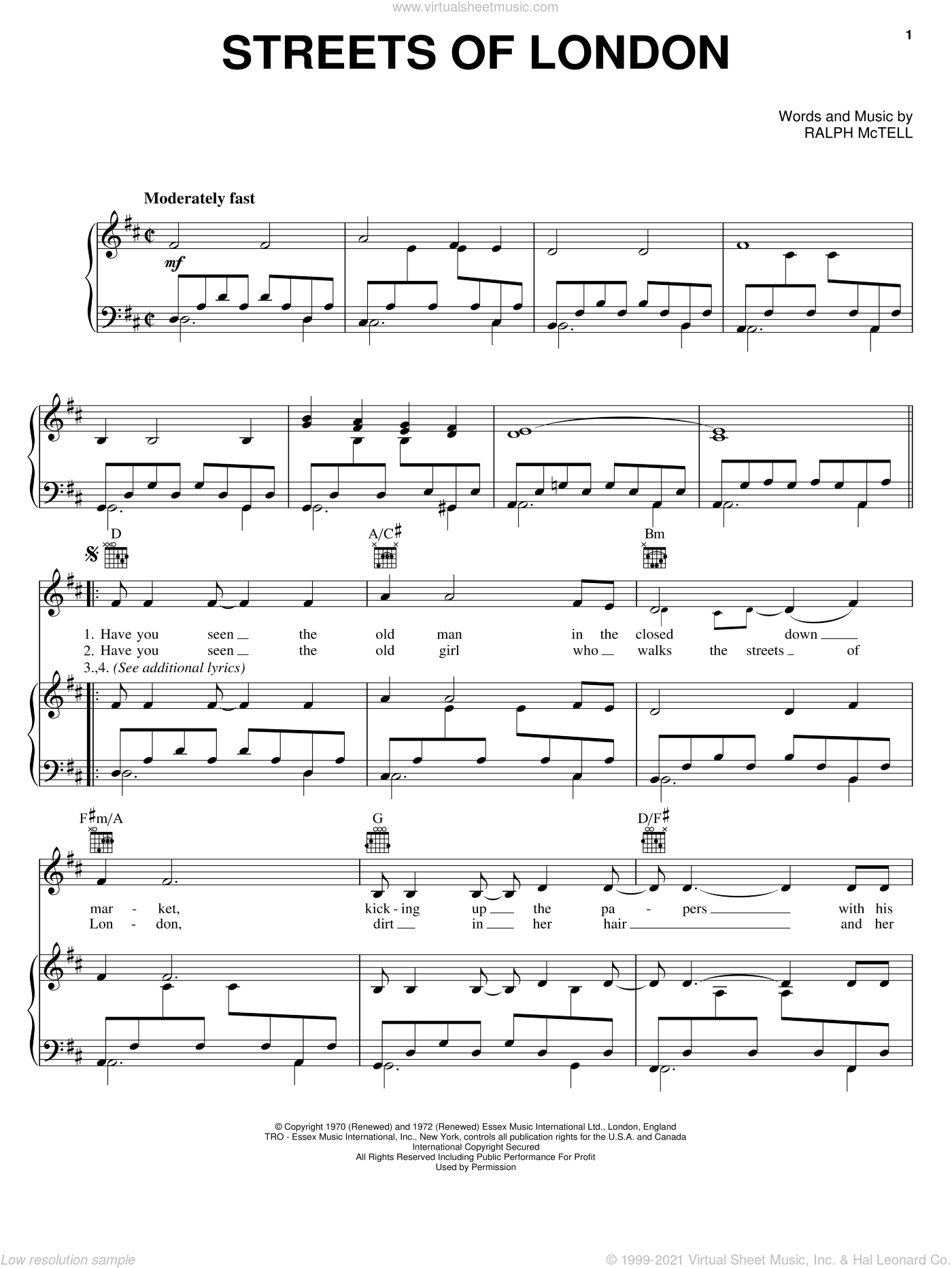 Streets Of London sheet music for voice, piano or guitar by Ralph McTell, intermediate skill level