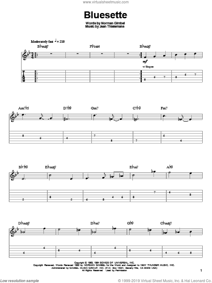 Bluesette sheet music for guitar (tablature, play-along) by Toots Thielmans and Norman Gimbel. Score Image Preview.