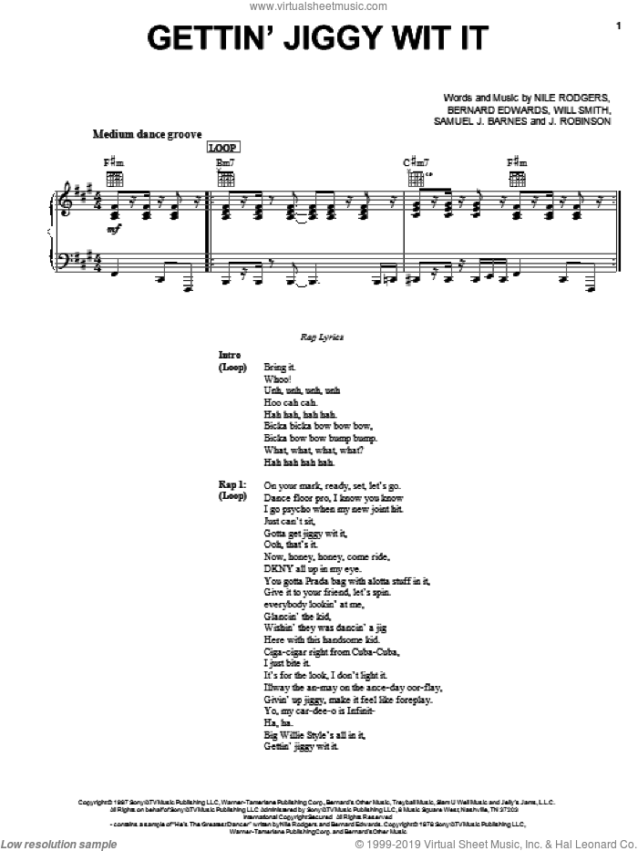 Gettin' Jiggy Wit It sheet music for voice, piano or guitar by Will Smith, Bernard Edwards and Nile Rodgers, intermediate. Score Image Preview.