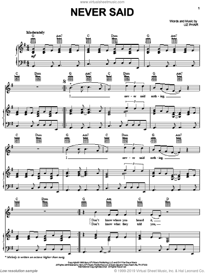 Never Said sheet music for voice, piano or guitar by Liz Phair, intermediate
