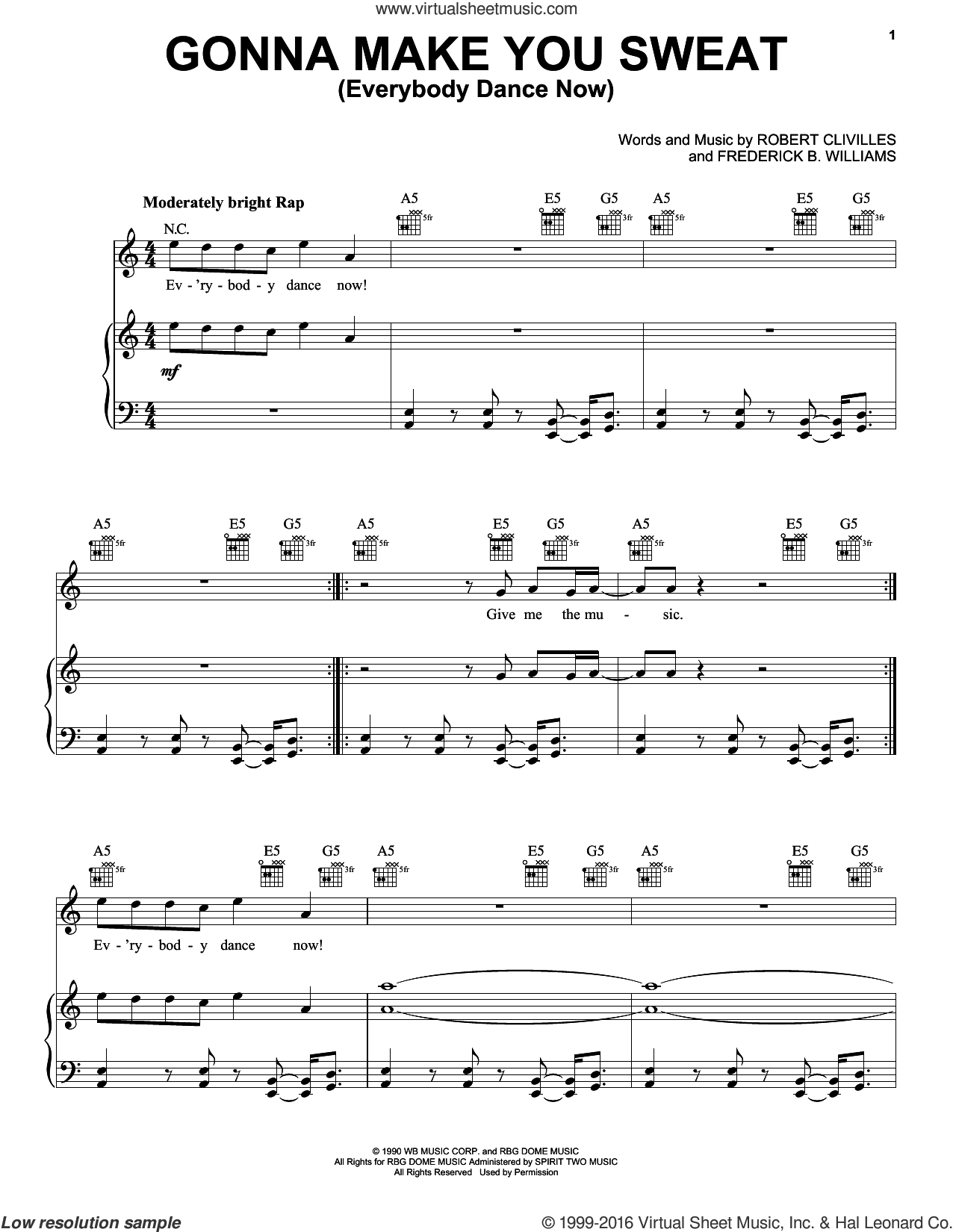 Gonna Make You Sweat (Everybody Dance Now) sheet music for voice, piano or guitar by C+C Music Factory, Frederick B. Williams and Robert Clivilles, intermediate. Score Image Preview.