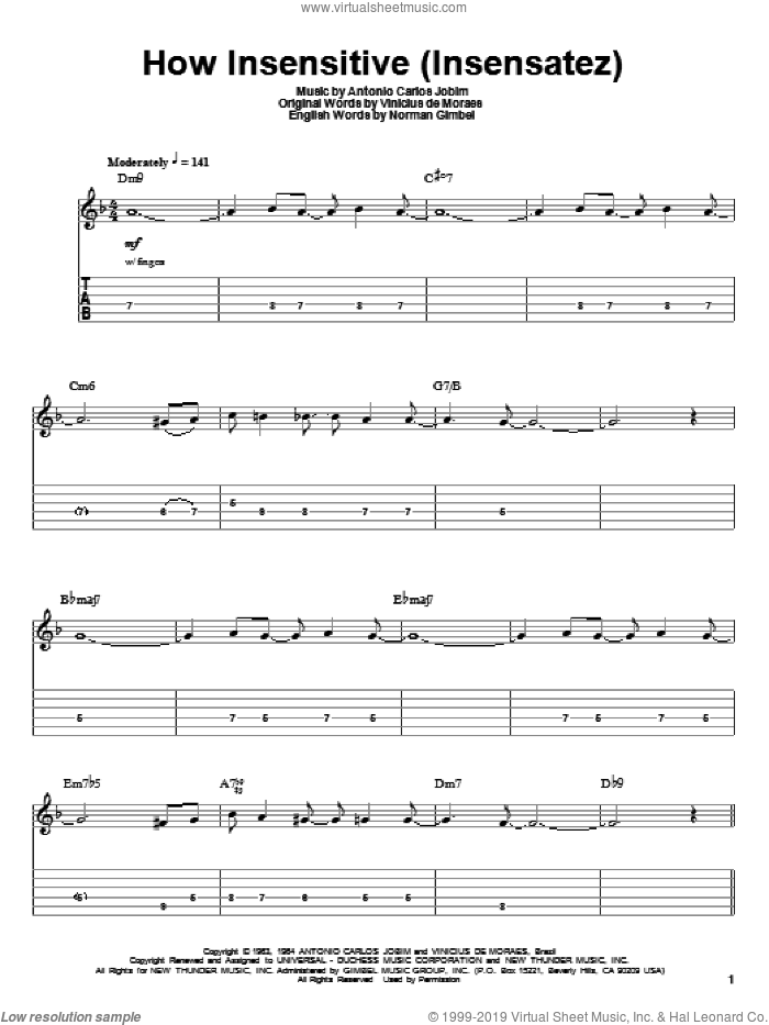 How Insensitive (Insensatez) sheet music for guitar (tablature, play-along) by Antonio Carlos Jobim, Norman Gimbel and Vinicius de Moraes, intermediate skill level